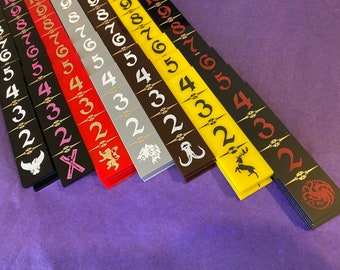 A Song of Ice and Fire movement sticks for ASOIAF! Pick your house! 4 Measurement Sticks! Rulers! AGOT ASOIF