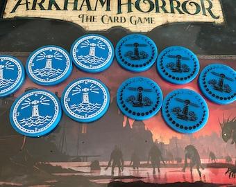 Arkham Horror Innsmouth Conspiracy Flood / Water tokens. 5 double sided tokens