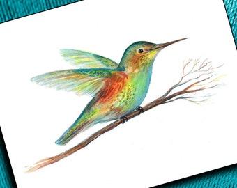 Hummingbird Art Print, Hummingbird Watercolor Print, Hummingbird Painting, Hummingbird Wall Art, Hummingbird Decor, Hummingbird Gift, Birds