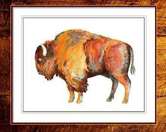 Buffalo Art, Bison, Native American Art, Buffalo Print, Indian Art, Southwest Art, Man Gift, Wild West, Wildlife Print, Prairie Wildlife