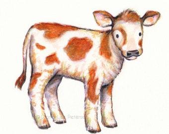 Calf Print Cow Art Cow Painting Baby Cow Artwork Decor Nursery Art Kids Room Art Boys Room Artwork Print Farm Animal Print Calf Painting Cow