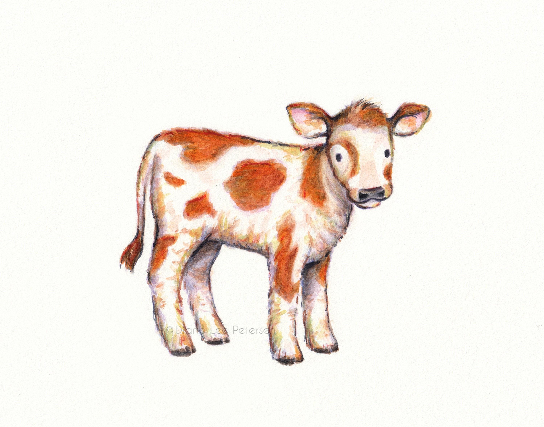 Calf Print Cow Art Cow Painting Baby Cow Artwork Decor Nursery Etsy