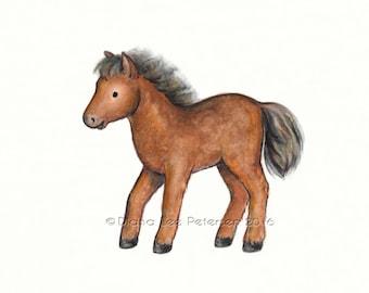 Pony Print Horse Painting Baby Horse Art Pony Illustration Watercolor Horse Baby Nursery Art Nursery Decor Print Farm Animal Art Print Pony
