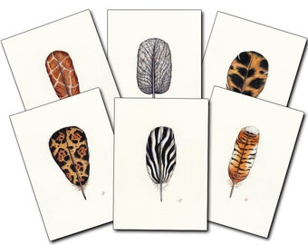 Safari Feathers,  Unusual Gift, Watercolor Feather, Animal Feather, African Print, African Animals, Unique, Feather Art