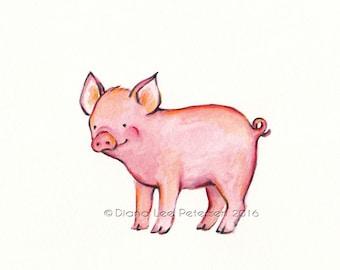 Pig Print Baby Pig Art Pig Painting Piglet Baby Pig Watercolor Pig Print Farm Animal Print Little Pig Pink Nursery Art Painting Kid's room