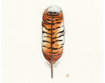 Tiger Feather, Tiger Print, Tiger Painting, Feather, Safari, African Print, Watercolor Feather, African Art, Nature Print Feather Art Africa