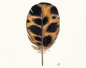 Cheetah Feather, Watercolor Feather Art Painting, Safari Feather, African Art Print, Africa, African Animals, Archival Print, Giclee