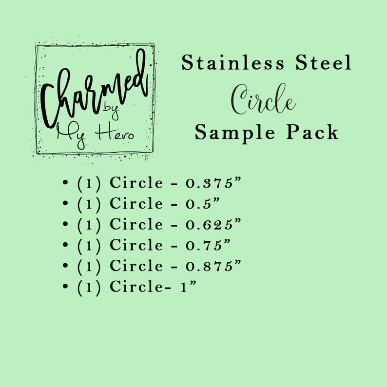 Engravable Charm 316L Stainless Steel SILVER-Toned Circle Sample Pack Wholesale Jewelry Blank Hand Stamping Blanks