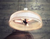 "Modern Glass Chandelier - Upcycled Industrial Antique 18""  Diameter Recycled Factory Light - Repurposed Hanging Ceiling Light"
