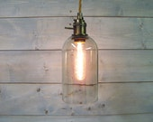 Wine Bottle Pendant Light - Extra Large Clear Glass - Recycled Rustic Ceiling Light from 1.5 Liter Bottle