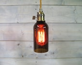 Large Brown Beer Bottle Pendant Light - Upcycled Industrial Glass Ceiling Light