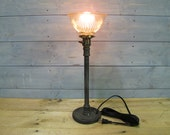 """Desk Lamp w/ Glass Shade and Repurposed Lifting Weight - 22"""" Tall - Iron Pipe - Salvaged Glass Shade"""