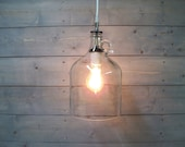 Pendant Light Glass Wine Jug Large - One Gallon Clear Upcycled Glass with White Porcelain Socket
