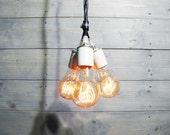 Three Socket Pendant Light - Porcelain Sockets - Functional Accessory Light Fixture - Industrial Lighting
