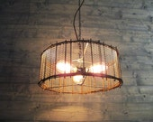 "Rustic Chandelier 17"" or 21"" or 25"" Diameter Brown Steel Cage with Metal Screen Mesh - Repurposed Industrial Light - Hanging or Flush Mount"