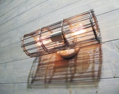 Industrial Wall Sconce or Ceiling Light w/ Two Bulb Porcelain Socket and Grey Galvanized Steel Cage - Industrial Lighting