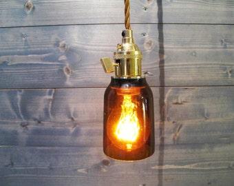 Recycled Modelo Beer Bottle Pendant Light - Short Brown - Upcycled Industrial Glass Ceiling Light