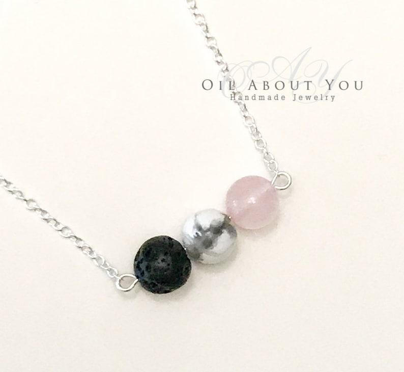 Essential Oil Diffuser Necklace Rose Quartz Aromatherapy Silver Chain Lava Stone Rock Pendant Gift for her