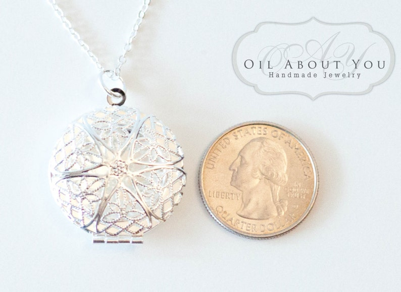 Essential Oil Diffuser Necklace Diffuser Necklace Aromatherapy Necklace Sterling Silver Chain Locket Pendant Filigree Gift For Her Scent