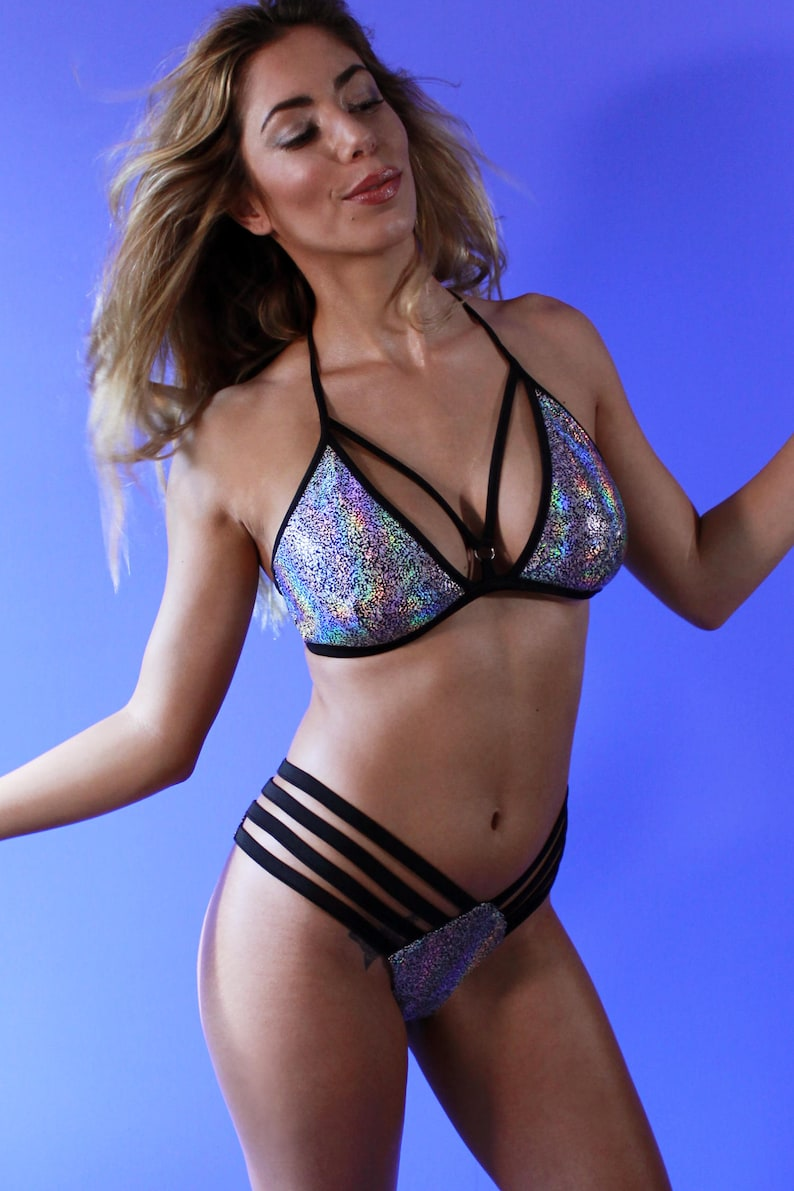 90917bd5395 Sexy Strap Top AIMEE   Holographic Bra Top   Rave top