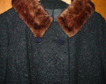 Vintage 60's Wool Coat with Mink Collar