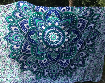 Large Blue Indian Tapestry Wall Hanging, Mandala cotton Tapestry, Bohemian Wall Tapestry, Dorm Tapestries, Indian bedding # Q 24