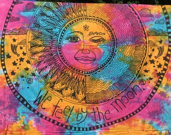 Large Tie Die Rainbow Indian Tapestry Wall Hanging, Mandala cotton Tapestry, Bohemian Wall Tapestry, Dorm Tapestries, Indian bedding # Q 30