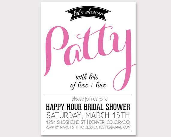 Happy Hour Bridal Shower Custom Invitation Lingerie