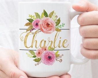 Custom Name Mug, Personalized Mug, Mug For Friend, Mug For Bridesmaid, Bridesmaid Gift, Bridesmaid Mug, Customized Mug, Floral Mug, Name Mug
