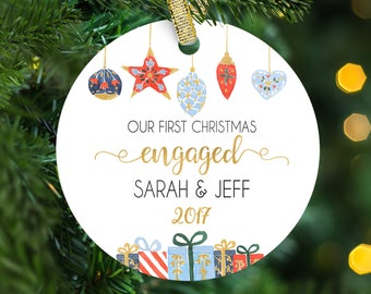 Our First Christmas Engaged Ornament, Engagement Gift, Personalized Christmas Ornament, Engagement Gift for Couple, Engagement Ornament