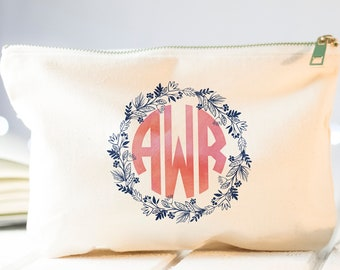 Monogram Makeup Bag, Monogram Cosmetic Bag, Monogram Gift, Monogram, Personalized Gifts, Best Friend Gift, Bridesmaid Gift, Cosmetic Pouch