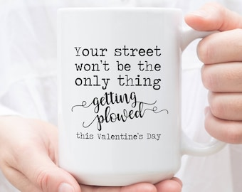 Naughty Gifts Couples, your street won't be the only thing getting plowed this Valentine's Day, Funny Valentine, Funny Mug, Gift for Him