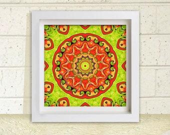 Orange Mandala Art, Printable Wall Art, Wall Decor, 7.5 inch square, Instant Download, Orange and Lime Circle Art, Australia