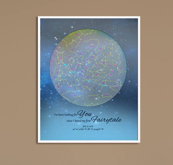 Custom Star Chart Sweet Dreams Wedding Night Gift Actual Night Etsy