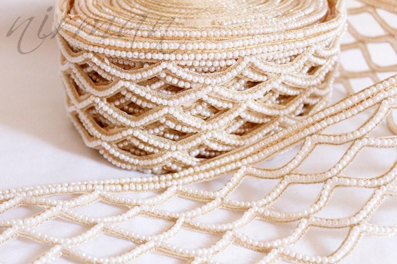 f2170d20fc Fish Scales Cut work Design in White beads Trim Lace, Bedding edge trim,  fish-scale trim -3/4 yard trim AN0003