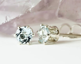 9a24b42db Genuine Natural Aquamarine Pair 3mm or 4mm Stud Earrings in 925 Sterling  Silver Studs, Natural Gemstone earrings, March Birthstone
