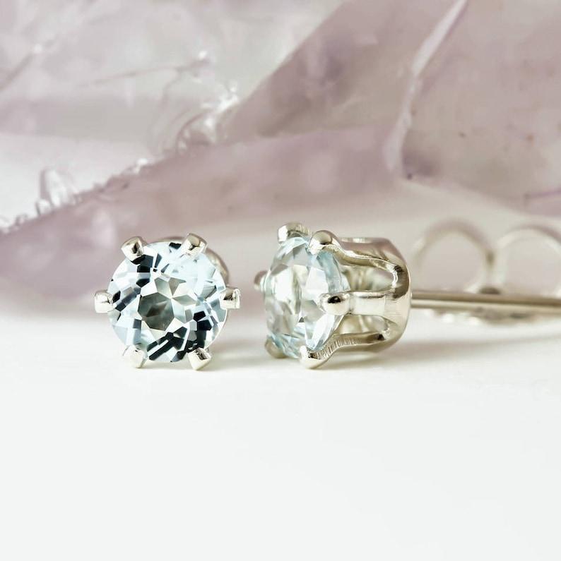 c29598ed55b46 Genuine Natural Aquamarine Pair 3mm or 4mm Stud Earrings in 925 Sterling  Silver Studs, Natural Gemstone earrings, March Birthstone