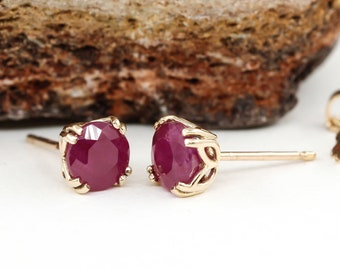 Genuine Natural Ruby 5mm Stud Earrings in Solid 14k Yellow Gold Studs, Natural Ruby Gemstone Earrings, July Birthstone, Ruby Studs