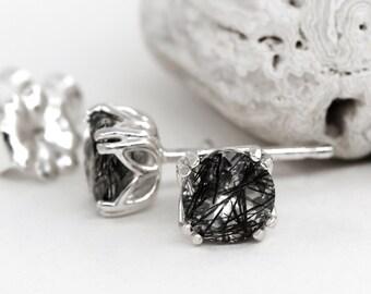 Natural Black Tourmalinated Quartz 5mm Stud Earrings,925 Sterling Silver Tulip Studs,Black Rutilated quartz,Rutile Quartz,Gemstone earrings