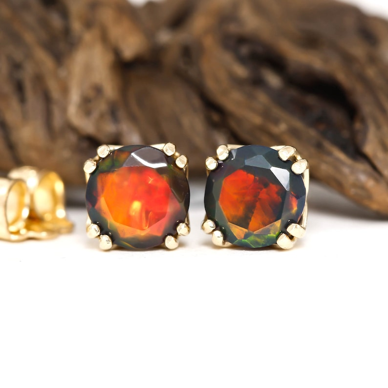 October Birthstone 5mm Ethiopian Opal Studs Natural Black Opal Multi Fire Stud Earrings in Solid 14k Yellow Gold or 925 Sterling Silver