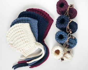 0-6m Bonnet and booties SET, Cotton/Merino Wool Sets, Wool bonnet, Knit Bonnet, Knit Baby Bonnet, Hand Knit, Baby Hat, Warm, Soft bonnet
