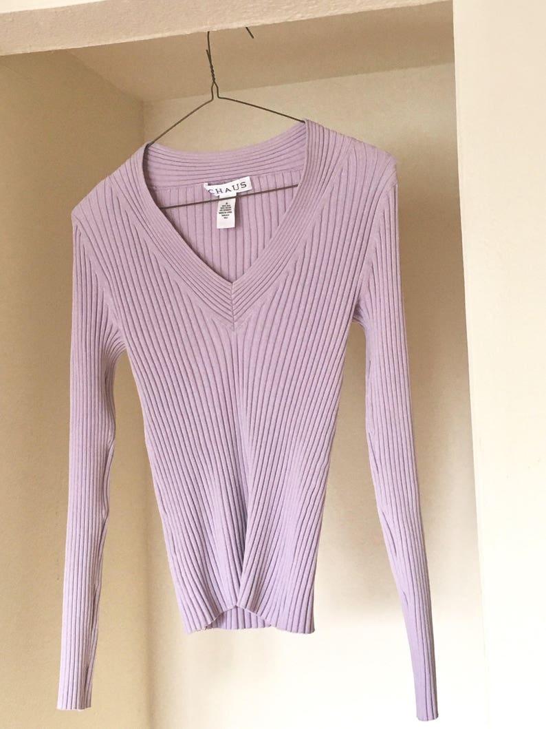 794687a719 Vintage 90s lilac silk blend v neck clingy y2k sweater