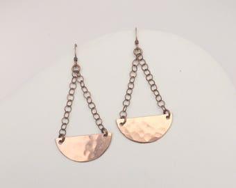 Half Moon Copper Dangle Earrings