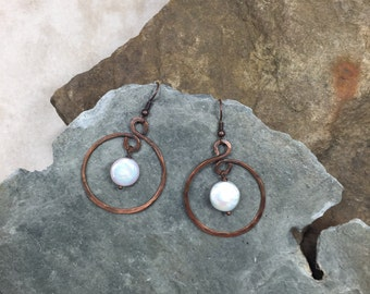 Copper Hoop with coin pearl