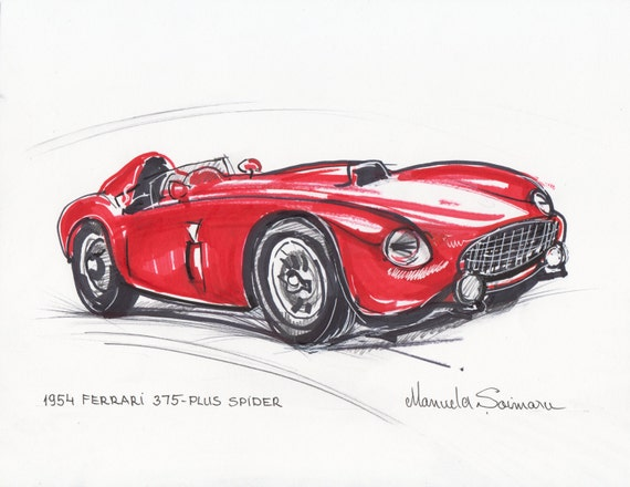 Classic Car Print 1954 Ferrari 375 Red Car Drawing Racing Car | Etsy