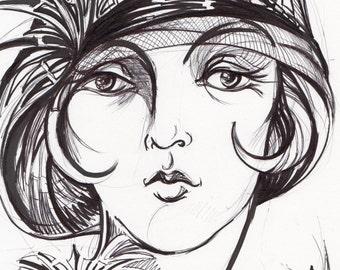 Art Deco Art Print Drawing Illustration Ink Fine Art Fashion Wall Art Decor Vintage Style Portrait 1920s Black& White Flapper Portrait Gift