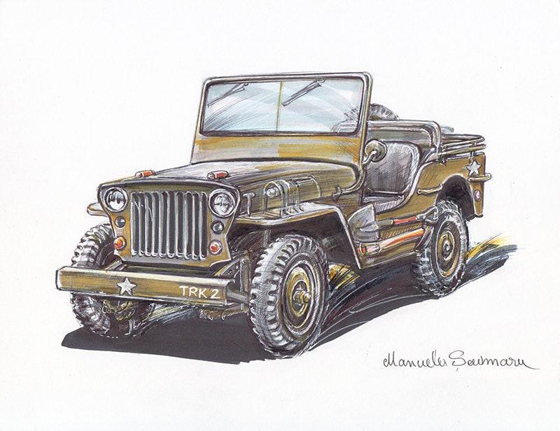 1943 Militär Jeep Willys drucken Armee Fahrzeug Malerei | Etsy