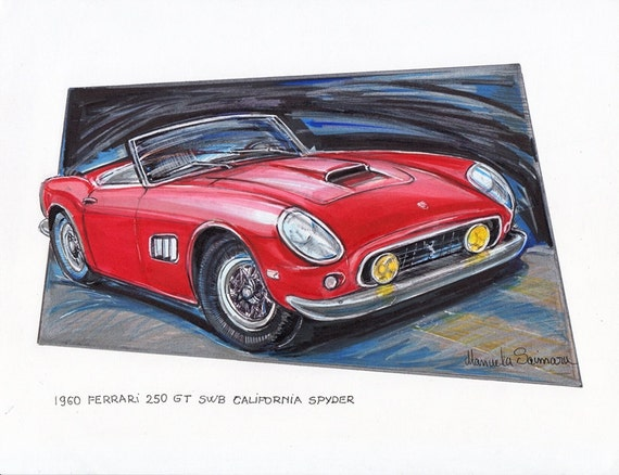 1960 Ferrari 250 Gt Painting Classic Red Automobile Father Day Car Illustration Automotive Print Office Decor Drawing Gift Under 25 Fine Art