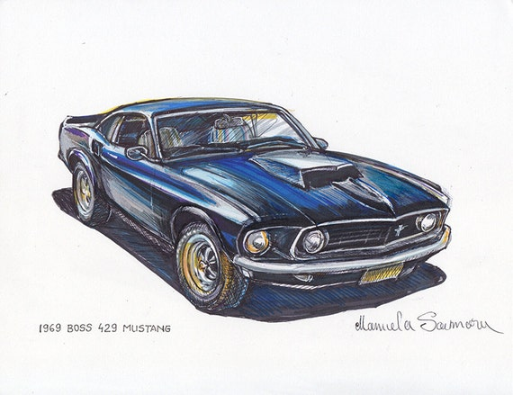 1969 Boss 429 Ford Mustang Painting Sports Car Art Automotive Etsy