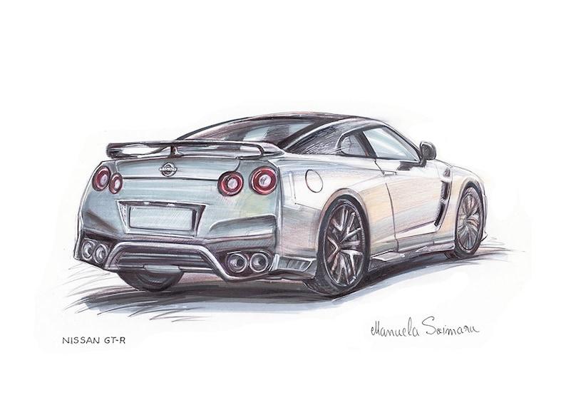 Auto Print Nissan Gt R Weiß Automobil Kunst Muskel Auto Wand Dekor Supercar Kunst Auto Malerei Schnelles Auto Geschenk Für Männer Poster Geschenk